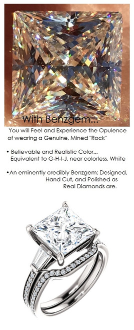 3.81 Benzgem by GuyDesign® Precise Diamond Cut, Believable G-H Color Simulated Princess Diamond 03.81 ct. Mined Diamond Semi-Mount G-H-I Color VS Clarity, Custom 14k White Gold Right Hand Ring 6792