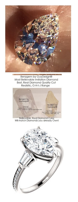 2.85 Benzgem by GuyDesign® Precise Diamond Cut, Believable G-H Color Simulated Pear Diamond 02.85 ct. Mined Diamond Semi-Mount G-H-I Color VS Clarity, Custom 14k White Gold Right Hand Ring 6794