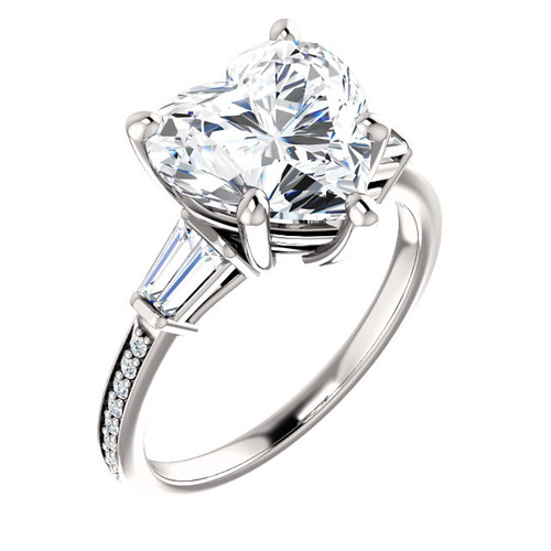 3.71 Benzgem by GuyDesign® Precise Diamond Cut, Believable G-H Color Simulated Heart Diamond 03.72 ct. Mined Diamond Semi-Mount G-H-I Color VS Clarity, Custom 14k White Gold Right Hand Ring 6795