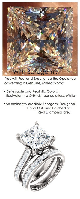 3.81 Benzgem by GuyDesign® Precise Diamond Cut, Believable G-H Color Simulated 03.81 Ct. Princess Diamond, Mined Diamond Princess Accent Semi-Mount G-H-I Color VS Clarity, Custom 14k White Gold Channel Set Solitaire Ring 6796