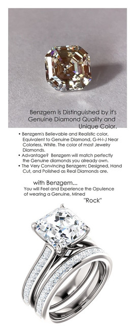 4.50 Benzgem by GuyDesign® Precise Diamond Cut, Believable G-H Color Simulated 04.50 Ct. Asscher Diamond, Mined Diamond Princess Accent Semi-Mount G-H-I Color VS Clarity, Custom 14k White Gold Channel Set Solitaire Ring 6800