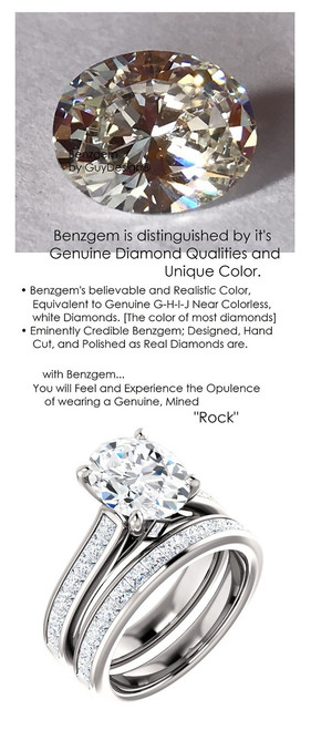 2.66 Benzgem by GuyDesign® Precise Diamond Cut, Believable G-H Color Simulated 02.66 Ct. Oval Diamond, Mined Diamond Princess Accent Semi-Mount G-H-I Color VS Clarity, Custom 14k White Gold Channel Set Solitaire Ring 6802