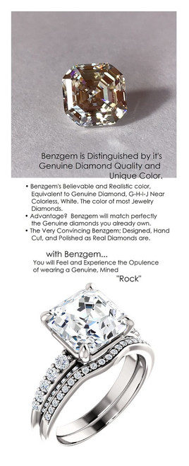 4.50 Benzgem by GuyDesign® Precise Diamond Cut, Believable I-J Color Simulated 04.50 Ct. Asscher Diamond, Mined Diamond Semi-Mount G-H Color VS Clarity, Custom 14k White Gold Graduated Accent Solitaire Ring 6807