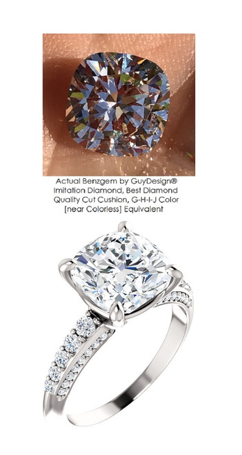 3.21 Benzgem by GuyDesign® Precise Diamond Cut, Believable I-J Color Simulated 03.21 Ct. Cushion Diamond, Mined Diamond Semi-Mount G-H Color VS Clarity, Custom 14k White Gold Graduated Accent Solitaire Ring 6808