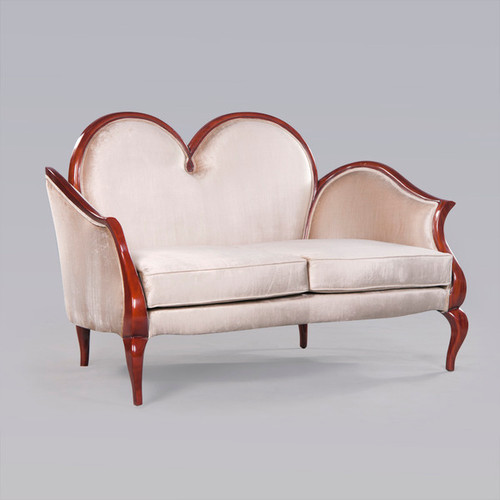 A Modern Louis Contemporary French Rococo Style - 64 Inch Handcrafted Sofa | Canape - Off White Velvet Upholstery 053 - Wood Tone Luxurie Furniture Finish M