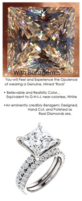 3.81 Benzgem by GuyDesign® Unforgettable, Most Believable, Original G-H-I-J Color 03.81 Ct. Hand Cut Princess Diamond Copy, Mined Diamond Semi G-H Color VS Clarity, Custom 14k White Gold Jewelry 3/4 Eternity Solitaire Ring 6838