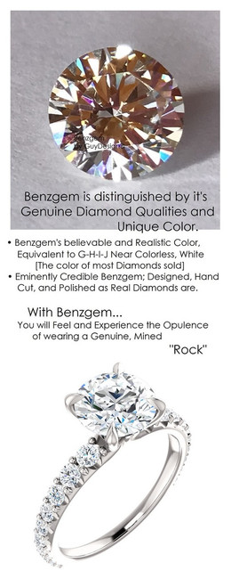 1.91 Benzgem by GuyDesign® Unforgettable, Most Believable, Original G-H-I-J Color 01.91 Ct. Hand Cut Tolkowsky Ideal Cut Diamond Copy, Mined Diamond Semi G-H Color VS Clarity, Custom 14k White Gold Jewelry 3/4 Eternity Solitaire Ring 6839