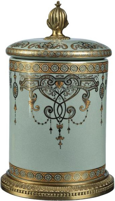 Luxe Life Celadon Flourish Finely Finished Porcelain and Gilt Bronze Ormolu, 10.25 Inch Covered Box