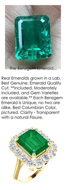 11 x 9 Benzgem by GuyDesign® Emerald Shape Lab-Created Columbian Color 11 x 9 Beryl Emerald and Round Diamond Simulants 01.68 cts., Diana Princess of Wales Ring, 14k Yellow Gold, 6872