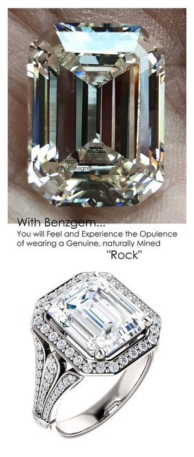 5.50 Prince of Wales Halo Ring by GuyDesign® G-H Color, 05.50 Ct. Off-White Hand Cut Emerald Cut Excellent Diamond Quality Benzgem Diamond Copy, Mined Diamond Semi-Mount, Custom 14K White Gold Jewelry 6911