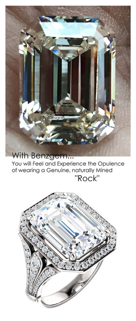 14.22 Prince of Wales Halo Ring by GuyDesign® G-H Color, 14.22 Ct. Off-White Hand Cut Emerald Cut Excellent Diamond Quality Benzgem Diamond Copy, Mined Diamond Semi-Mount, Custom 14K White Gold Jewelry 6912