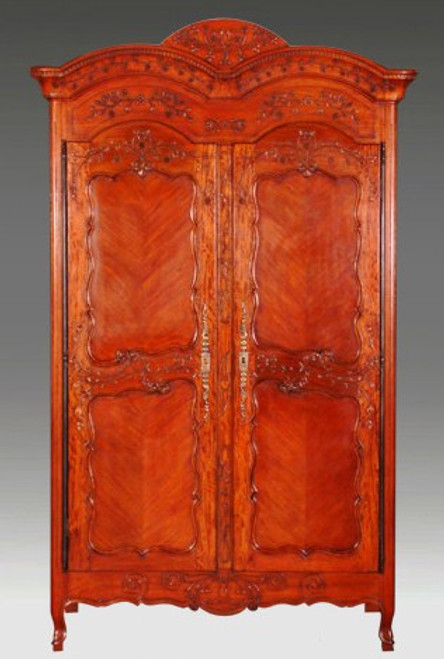 French Provincial - 94 Inch Handcrafted Reproduction Armoire | Wardrobe | TV Cabinet - Wood Tone Light Distress Luxurie Furniture Finish