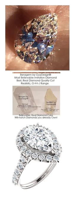 2.85 Diamond Halo Ring by GuyDesign®, 02.85 Ct. Hand Cut Pear Shape G-H Color Excellent Diamond Quality Benzgem Diamond Simulant, Custom Jewelry 6930