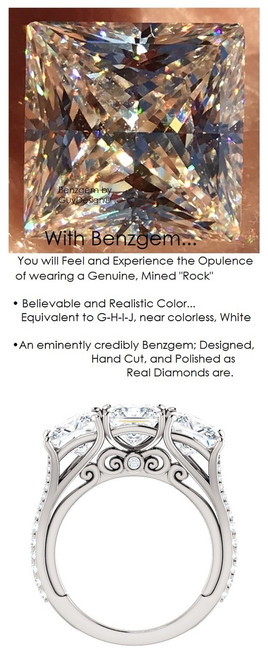 1.09 Anniversary Ring by GuyDesign®, 01.09 Carats x 3 Hand Cut Quadrillion Princess Shape G-H Color Excellent Diamond Quality Benzgem Diamond Simulant, Custom White Gold Jewelry 6934