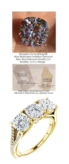 0.95 Anniversary Ring by GuyDesign®, 0.95 Carats x 3 Hand Cut Cushion Shape G-H Color Excellent Diamond Quality Benzgem Diamond Simulant, Custom Yellow Gold Jewelry 6937