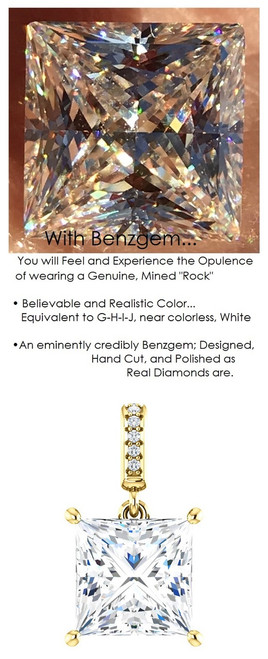 3.81 Ct. Princess Cut Benzgem: Best G-H-I-J Diamond Quality Color Imitation; GuyDesign® Dangle Mined Diamond Pendant Necklace: Custom Gold Jewelry - 6938