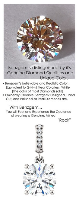 1.91 Carat Hearts and Arrows Benzgem: Best G-H-I-J Diamond Quality Color Imitation; GuyDesign® Dangle Mined Diamond Pendant Necklace: Custom Gold Jewelry - 6940