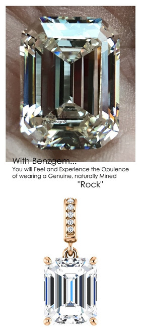 3.95 Ct. Brilliant Emerald Cut Benzgem: Best G-H-I-J Diamond Quality Color Imitation; GuyDesign® Dangle Mined Diamond Pendant Necklace: Custom Rose Gold Jewelry - 6945