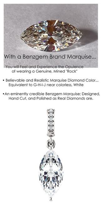 1.59 Ct. Hand Cut Marquise Cut Benzgem: Best G-H-I-J Diamond Quality Color Imitation; GuyDesign® Dangle Mined Diamond Pendant Necklace: Custom White Gold Jewelry - 6946