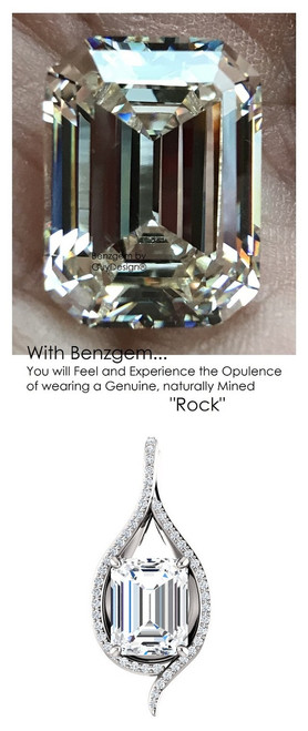 3.95 Ct. Emerald Brilliance Hand Cut Benzgem: Best G-H-I-J Diamond Quality Color Imitation; GuyDesign®Teardrop Pendant Necklace: Custom Mined Diamond and Gold Jewelry - 6950