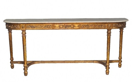 Classic Style - 82 Inch Handcrafted Reproduction Console Table - Metallic Gold Luxurie Furniture Finish