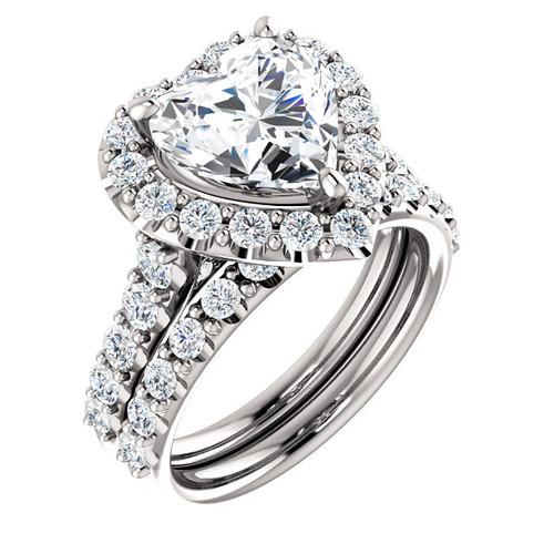 Halo Engagement Rings, Heart Shaped Engagement Ring, Diamond Semi-Mount, White Gold, Simulated Diamond, Natural Diamond, Wedding Sets, 6951