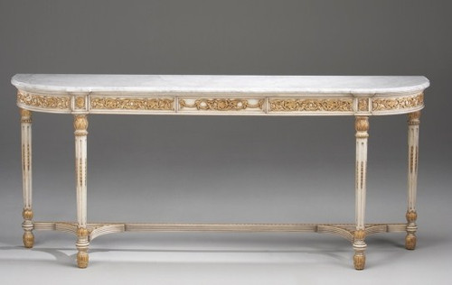 Classic Style - 82 Inch Handcrafted Reproduction Console Table - Hand Painted White Luxurie Furniture Finish with Gold Accents
