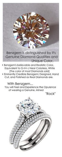 1.91 Micro Pavé Mined Diamond Engagement Ring by GuyDesign®, 01.91 Ct. Hand Cut Round Shape G-H Color Excellent Diamond Quality Benzgem Diamond Replica, Custom Jewelry 6960