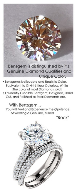 3.00 Micro Pavé Mined Diamond Engagement Ring by GuyDesign®, 3 Carat Hand Cut Hearts & Arrows Round Shape G-H Color Excellent Diamond Quality Benzgem Diamond Replica, Custom Jewelry 6961