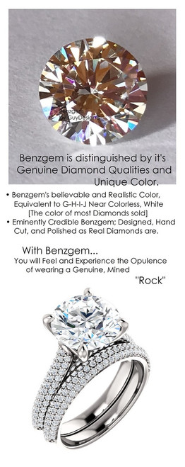 4.00 Micro Pavé Mined Diamond Engagement Ring by GuyDesign®, 4 Carat Hand Cut Hearts & Arrows Round Shape G-H Color Excellent Diamond Quality Benzgem Diamond Replica, Custom Jewelry 6962