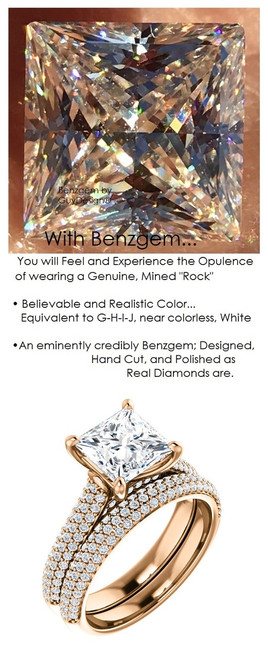 1.79 Micro Pavé Mined Diamond Engagement Ring by GuyDesign®, 01.79 Carat Hand Cut Princess Shape G-H Color Excellent Diamond Quality Benzgem Diamond Replica, Custom Jewelry 6967