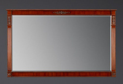 "A Versailles Louis XVI French Neo Classical Period - 57"" Handcrafted Reproduction Beveled Glass Mirror - Wood Tone Luxurie Furniture Finish MLSC, 9396"