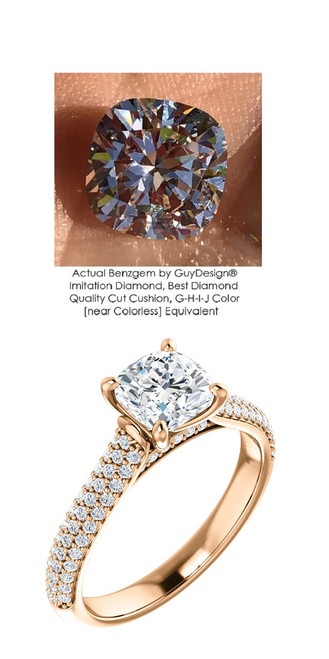 1.00 Micro Pavé Mined Diamond Engagement Ring by GuyDesign®, 01.00 Carat Hand Cut Cushion Shape G-H Color Excellent Diamond Quality Benzgem Diamond Replica, Custom Jewelry 6977