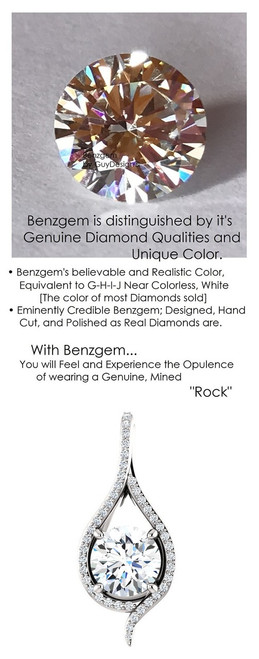 1.91 Ct. Hearts and Arrows Benzgem: Best G-H-I-J Diamond Quality Color Imitation; GuyDesign®Teardrop Pendant Necklace: Custom Mined Diamond and 14k White Gold Jewelry - 6987
