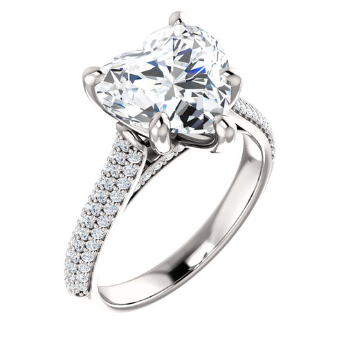 4.00 Micro Pavé Mined Diamond G+, VS Engagement Ring by GuyDesign®, 4 Carat Heart Shape, G-H Color Excellent Diamond Quality Benzgem Diamond Replica, Custom Jewelry 6990