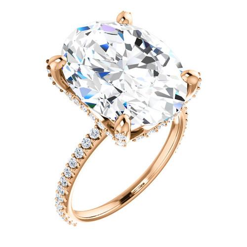 9.00 All G+, VS Diamond, 18k Rose Gold Engagement Ring by GuyDesign®, 9 Carat Oval Shape Benzgem Best Alternative Solitaire, Custom Jewellery 6999