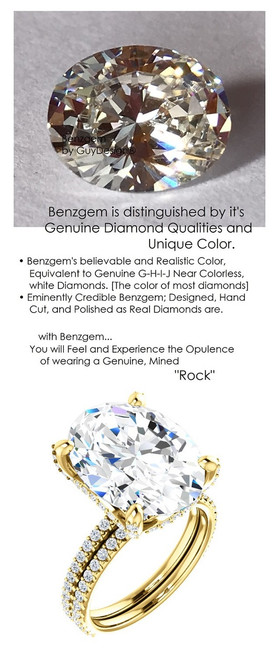 9.00 All G+, VS Diamond, 18k Yellow Gold Engagement Ring by GuyDesign®, 9 Carat Oval Shape Benzgem Best Alternative Solitaire, Custom Jewellery 6700