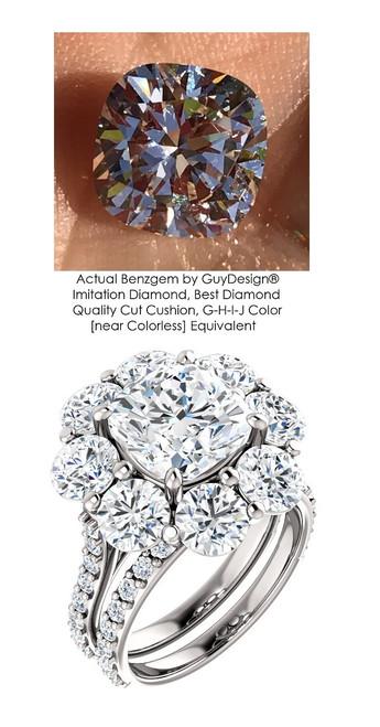 Halo Engagement Rings, Cushion Cut Engagement Rings, Diamond Semi-Mount, Platinum, Simulated Diamond, Mine Diamond, Wedding Sets, 6706