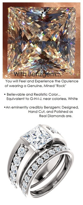 Bespoke Ladies G+ Color, VS Clarity Diamond Semi-Mount Wedding Ring - 4 Carat, 9 x 9 Princess G-H-I-J Color Benzgem by GuyDesign® Best Diamond Simulant, 6707