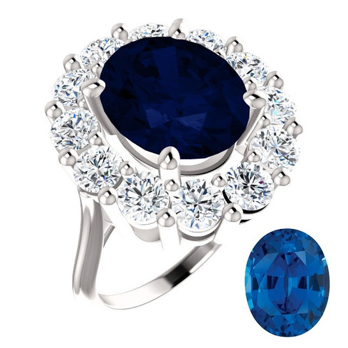 Princess Diana Ring/Precision Cut, Natural G+, VS 2.40 Carat Diamond Semi-Mount/6.50 Carat Oval Cut Chatham Corundum Sapphire/Opulent Ring Designed by GuyDesign®/Platinum Ring/7022