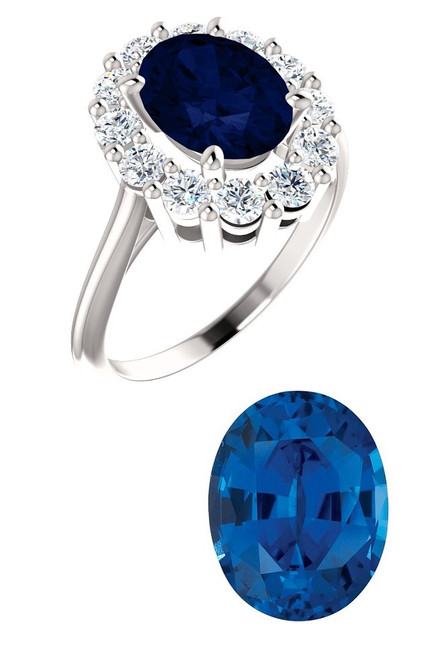 Princess Diana Ring/Precision Cut, Natural G+, VS .72 Carat Diamond Semi-Mount/2.60 Carat Oval Cut Chatham Corundum Sapphire/Opulent Ring Designed by GuyDesign®/Platinum Ring/7025