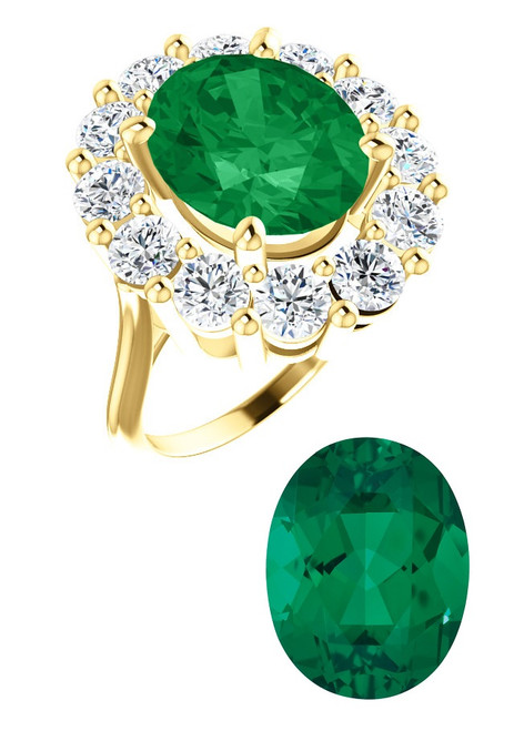 12 x 10 A Diana Style Right Hand Ring by GuyDesign®, Chatham Created Green Oval Synthetic Beryl Emerald of 4.20 Carats, 2.40 Carats of Mined Diamond in 18k gold Semi-Mount, 7027
