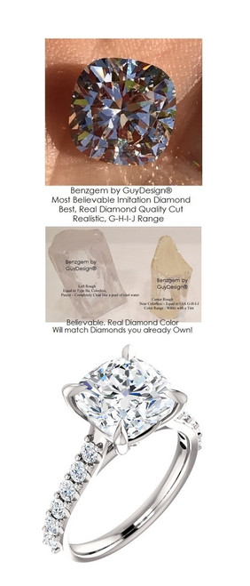 Ladies G-H Color, VS Clarity .52 ct. Diamond Semi-Mount Wedding Ring - 4 Carat, 9 x 9 Cushion G-H-I-J Color Benzgem by GuyDesign® Best Diamond Simulant, Custom 7030