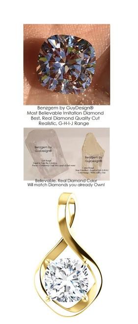 3.21 Ct. Hand Cut Antique Square Cushion Cut Benzgem: G-H-I-J Diamond Quality Color Imitation; GuyDesign® Infinity Pendant Necklace: Custom Yellow Gold Jewelry - 7034