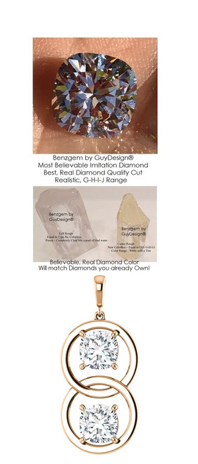 6 Carat and 42 Points Believable Cushion Shape Two Stone Necklace, Contemporary Dual Dangle Pendant by GuyDesign®, G-H-I-J Color, Best Cut, Benzgem Diamond Simulant, Custom Rose Gold Jewelry 7037