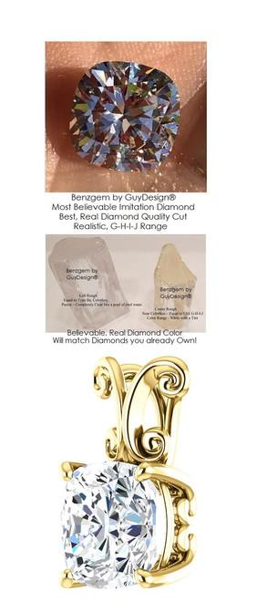 3.21 Ct. Hand Cut Antique Square Cushion Cut Benzgem: G-H-I-J Diamond Quality Color Imitation; GuyDesign® Louis XV, C Scroll Prong Set Pendant Necklace: Custom Yellow Gold Jewelry - 7038