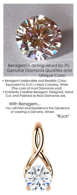 1.91 Carat Hearts and Arrows Benzgem; G-H-I-J Diamond Quality Color Imitation, GuyDesign® Pink Ribbon Design Necklace Pendant, Custom Rose Gold Jewelry 7041