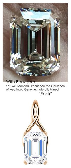 14.22 Ct. Believable Emerald Shape Necklace, Pink Ribbon Design Pendant by GuyDesign®, G-H-I-J Color, Best Cut, Benzgem Diamond Simulation, Custom Rose Gold Jewelry 7042