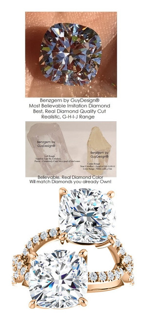6 Carat and 42 points, Ladies Mined Diamond Semi-Mount Two Stone Rose Gold Ring, Benzgem by GuyDesign® Premium Cushion G-J Color Diamond Simulation 7046