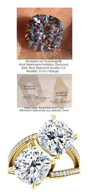 6 Carat and 42 points, Ladies Mined Diamond Semi-Mount Ever & Ever Two Stone Yellow Gold Ring, Benzgem by GuyDesign® Premium Cushion G-J Color Diamond Simulation 7047